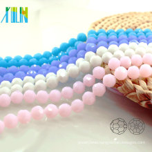 A5000#-5 Alabaster Jade Color 32 Faceted Football Round Czech Small Glass Beads Galore