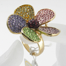 new super flash 5 different color petal flower rings enamel rhinestone crystal gold plated diamond rings