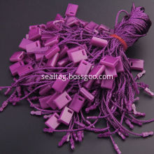 Colorful small locking string tags for apparel