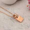 Rose Gold Stainless Steel Customized Letter Crystal Hollow Circle Pendant Necklace Women Personalized Engraved