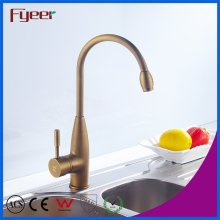 Fyeer Brass Body High Arc Antique Brass Kitchen Eink Faucet