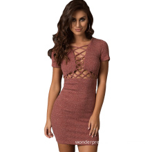 Summer Women Sexy Asymmetrical Neck Short Sleeve Lace Up Hollow Out Knitted Mini Dress