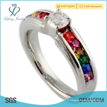 Crystal silver lgbt bands ring, lesbien amour cadeaux bijoux