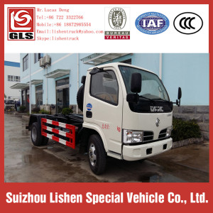 Small Hook Arm Dongfeng Garbage Truck 125hp 4 CBM