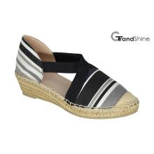 Damen-bedruckte Leinwand Espadrille Wedge Schuhe