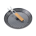 Non-stick Coating BBQ Grill Pan With Wood Handle