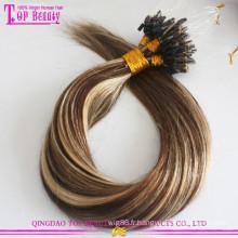 Bonne rétroaction Ombre Micro Loop Anneau Extension de Cheveux Aucun Rejet et Enchevêtrement Gratuit Russe Kératine Bond Extension de Cheveux Micro Perles