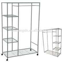 Mobile Wardrobe Steel Pipe with Wheel for Home