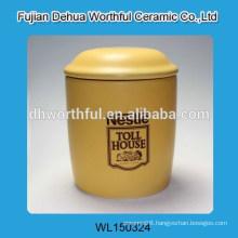 Elegant ceramic storage tank in yellow