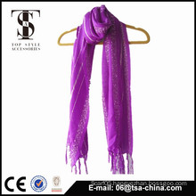 popular new design purple color Ladder yarn knitted scarf