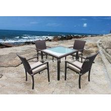 Móveis de jantar ao ar livre Rattan mesa e cadeira