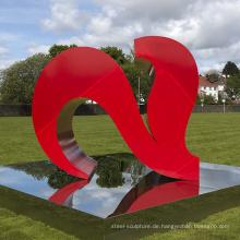 Outdoor Gartendekoration Metall Craf groß zwei rote Herzen Skulpturen
