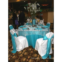 Housses polyester avec satin sash/bande, couverture de table polyester pour mariage