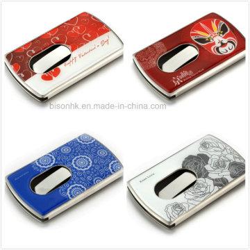 Hand Push Type Business Card Holder, Soft Enamel Business Card Holder