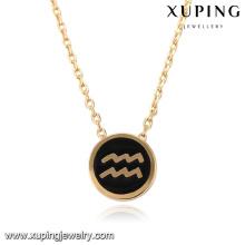 43388 xuping 18k золото черный круглый узор ожерелье Водолей оптом Китай