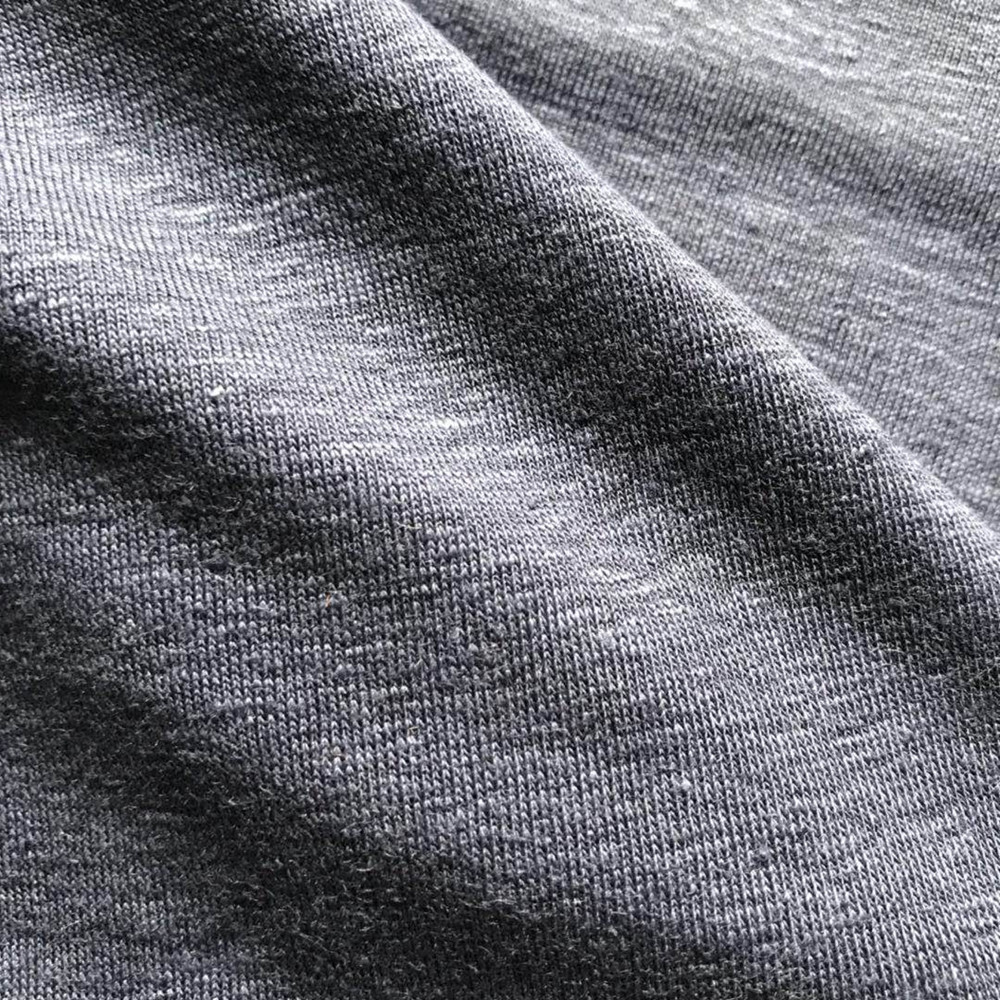 Linen elastane single jersey knitted fabric