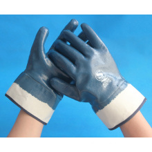 interlock lined fully coated nitrile coated gloves with safety cuff