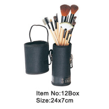 12 pc portable makeup brush kit with handle PU cylinder