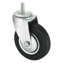 Middle Duty Series Caster - Filetage sans frein - Black Industrial Rubber (roulement à rouleaux)