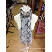 Piel de serpiente impreso bufanda de cachemira de seda