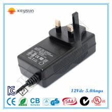 Fonte de alimentação LED de 60W 12V 5A AC DC Fonte de alimentação