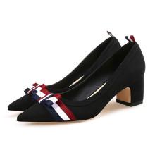 Горячая распродажа женщины черный подлинная кожаный блок средний каблуки насосы обувь