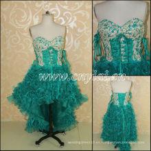 JJ3046 Organza Flor Falda vestido de novia corto frente largo espalda