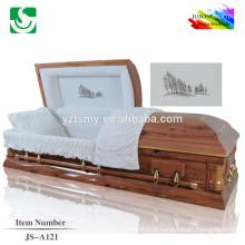 Cercueil bois solide JS-A121 haute qualité sapin rouge