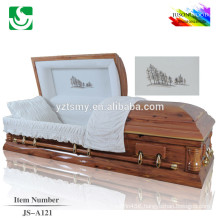 JS-A121 High quality red fir solid wood casket