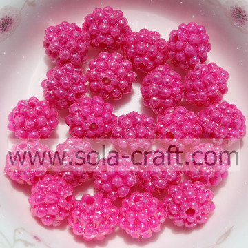 Hoge kwaliteit Rose Pink Color Solid Acrylic Little Berry Beads