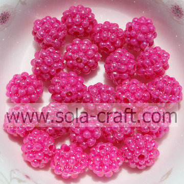 High Quality Rose Pink Color Solid Acrylic Little Berry Beads