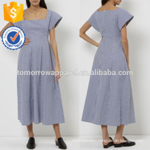 New Fashion Navy & White Striped Square Neck Dress Manufacture Wholesale Fashion Women Apparel (TA5266D)