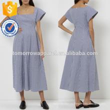 Новый военно-морской флот мода & Белый в полоску квадратных шеи платье Производство Оптовая продажа женской одежды (TA5266D)