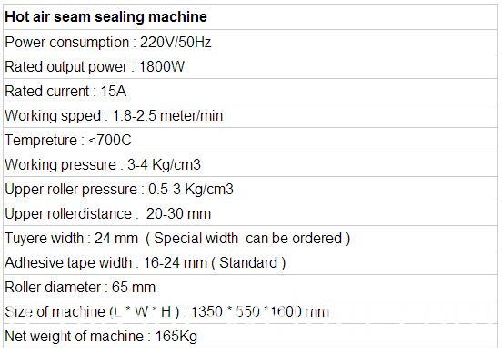 1800w hot air seam sealing machine