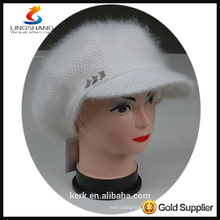 DSC9597 lingshang angora high quality winter Custom Crocheting Knitted peaked cap and hat