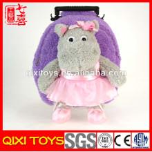 mochila hipopótamo de felpa de felpa de animal doméstico de la novedad personalizada