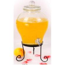 5.6L Big Clear Cone Glass Jar e tampa de vidro com / sem metal clip clip de suporte com torneira