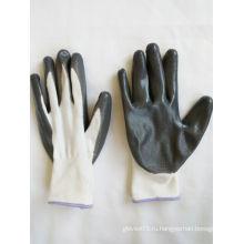 13G полиэфирные оболочки нитрила покрытием перчатки безопасности работы (N6007)