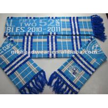 100% jacquard de acrílico de tejer bufanda de fútbol
