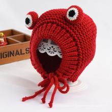 Chapéu de lã de malha de animal de estimação em forma de animal de sapo desenho animado