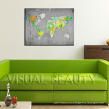 Única pintura abstracta mapa del mundo de pared