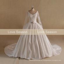 MRY005 vestido de bola cetim costurando vestidos de casamento de renda coração keyhole vestido de casamento de volta alibaba vestido de casamento muçulmano para mulheres gordas