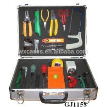 boîte à outils de coin arrondi en aluminium avec insert en mousse personnalisées à l'intérieur
