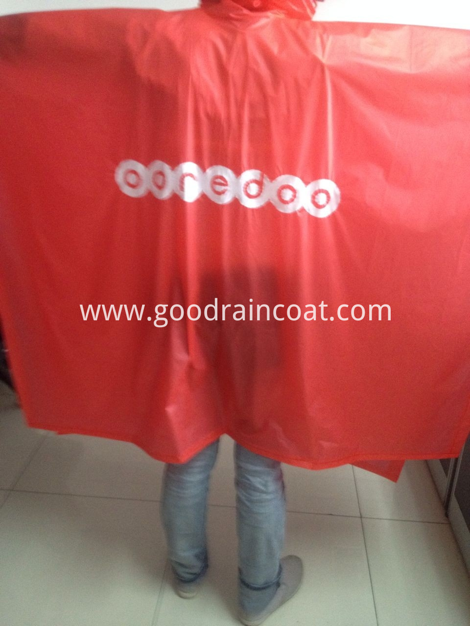 red logo print pvc rainponcho