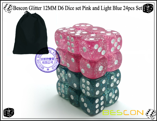 Bescon Glitter 12MM D6 Dice set Pink and Light Blue 24pcs Set-8