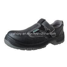 Couro + couro artificial parte sandália sapato de segurança (HQ05036)