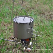 Tasse de camping avec poignée pliable en titane avec couvercle