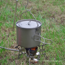 Camping Mug Foldable Handle Titanium Pot with Lid