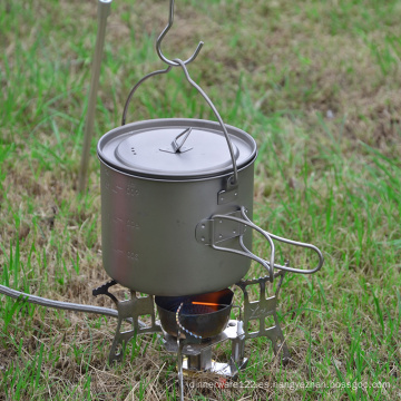 Taza de camping con mango plegable, olla de titanio con tapa