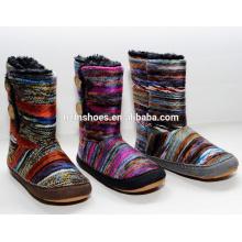 Nouvelle arrivée Weave coloré chaussures hiver hiver des neiges avec des boutons